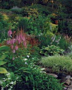 Tall 'Purple Candle' astilbe ( Astilbe chinensis 'Purpurkerze', Zones 4-8) frames the view.  Read more: http://www.finegardening.com/designing-curved-terraces#ixzz3WDZ17Fci