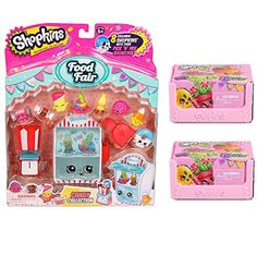 Shopkins Candy Collection Season 4 Food Fair Playset w/ 8 Exclusives. Includes 1 Pick 'N' Mix Showcase 1 Scoop 1 Scale and 8 Shopkins figures: Bottle Pop Jelly Snake Tootsie Cutie Marshmallow Tw...