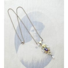 Antique 10k Amethyst and Seed Pearl Lavalier Pendant Necklace, 10k... ($255) ❤ liked on Polyvore featuring jewelry, necklaces, gold flower necklace, gold pearl necklace, flower necklaces, amethyst necklace and amethyst pendant