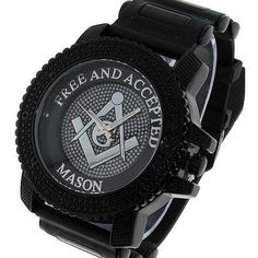 JewelzKing - Iced Out Hip Hop Black Freemason Masonic Watch With Silicone Bullet Band Special $24.99 #Freemason #mason #masonicwatch #masonicwatches