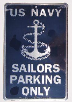 8x12 US Navy Sailors Parking Only ALUMINUM SIGN metal garage wall bar decor gift