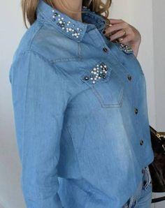 camisas jeans bordadas - Pesquisa Google