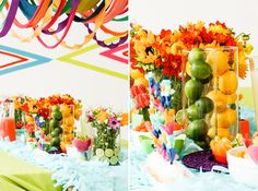 Use lemons + limes to decorate a colorful fiesta-themed party.