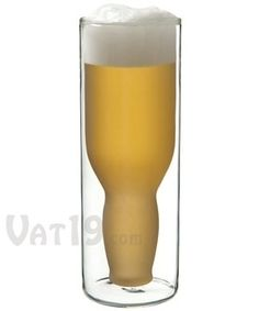 Upside Down Beer Glass $15.99  After a few drinks, I'm not sure this would be that confusing and just might make sense.