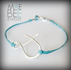 Sterling #ampersand #bracelet on linen (pick your favorite color!) from JewelryByMaeBee on #Etsy. #sfetsy www.jewelrybymaebee.etsy.com