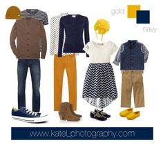 Gold/navy outfit inspiration: what to wear for a family photo session in the fall. Created by Kate Lemmon, www.kateLphotography.com
