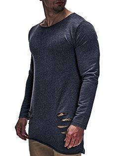 ca852235f53d Amazon LEIF NELSON Herren Basic T-Shirt Hoodie Longsleeve Oversize Rundhals  Ausschnitt Kurzarm Shirt Sweatshirt LN6368  Größe S, Anthrazit    04251460512657