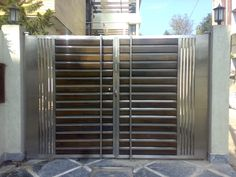Swing Stainless Steel Entrance Gate, Rs 1400 /running feet A. Home Gate Design, Grill Gate Design, House Main Gates Design, Steel Gate Design, Railing Design, Front Door Design Wood, Front Gate Design, House Front Design, Gate Designs Modern