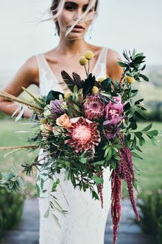 Designer Organic Wedding Bouquet by Julia Rose Native Australian flowers  Protea  Roses  Wild natural featured in white magazine