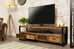Large Industrial TV Stand with 4 Drawers