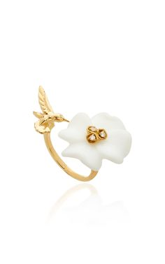 M'O Exclusive Clover & Hummingbird Double Sided Ring by BRENT NEALE for Preorder on Moda Operandi