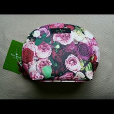 Authentic Kate Spade Cosmetic Bag Pretty rose print.  One pocket on the inside. kate spade Bags Cosmetic Bags & Cases