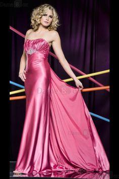 Elastischer gewebter Satin sexy formelles luxus Ballkleid mit Falte Mieder - Damebox.com