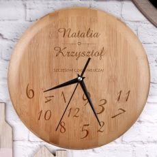 Personalizowany zegar bambusowy ZAKOCHANI idealny na urodziny