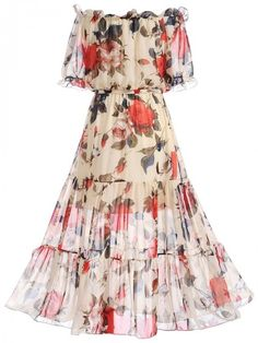 Easy Fashion Tips Off Shoulder Floral Hollow Out Ruffled Hem Maxi Dress Chifon Dress, Mode Geek, Vestido Casual, Looks Chic, Dress Silhouette, Swing Dress, The Dress, Fashion Dresses, Maxi Dresses