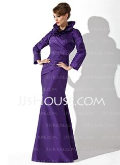 Mermaid High Neck Floor-Length Taffeta Mother of the Bride Dress With Ruffle (008006080)(in a different color though)
