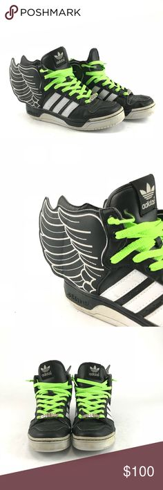 50cae23449b8 Adidas Jeremy Scott WINGS high top sneakers Pre-owned Adidas Jeremy Scott  WINGS high top sneakers. Green black and white. Jeremy Scott x Adidas Shoes  ...