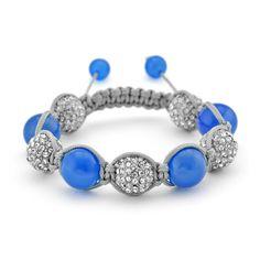 Blue Agate and Crystal Shamballa Inspired Bracelet