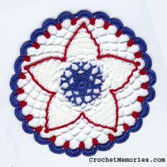 Free Crochet doily Pattern - Free Petite Independence Day Doily Pattern from CrochetMemories.com