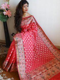 Banarasee/Banarasi Handloom  Cotton Silk Mix Jamdani Sari-Pink