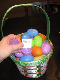 Two baskets full of plastic eggs. One basket has student names, the other has prizes. Throughout the day, pick up an egg and if that student is on task, you pick a prize egg to see what they get. If not on task, quietly put the name back. Students will know someone wasn't on task and missed out on a prize.
