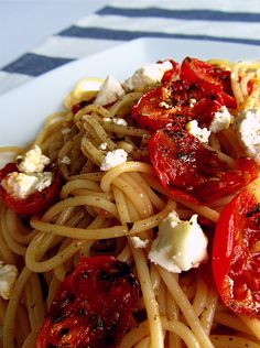 Spaghetti with roasted cherry tomatoes and feta.