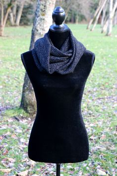 Tinsel Infinity Knit Scarf. Vital Outburst RTW Fall/Winter 2013 Collection by Aimée Wells. Free shipping & free gift wrapping on all orders: www.vitaloutburst.com #style #soft #black #knit #gold #tinsel #sparkle #vegan #handmade #USA #clothing #fashion #Portland #Oregon #eternal #layers #organic #rtw #affordable #local #designer #outside #teens #women #girls #sale #giveaway #facebook #eco-friendly #label #line #gift #shipping #limitededition #versatile #convertible #functional #circle #warm