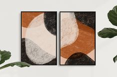 THEA || Modern Luxury Abstract Minimal Mid-Century Boho Art Print (Set of 2) Neutral Colors, Colours, My Design, Modern Design, Modern Art Prints, Modern Luxury, Minimalism, Abstract Art, Mid Century