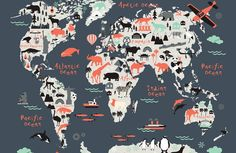 Landmark Kids Map Wallpaper Mural, is a fun and educational world map is perfect for your child's bedroom or playroom. Featuring popular landmarks and regional animals there is plenty to learn and engage with in this grey world map wallpaper. World Map Mural, Kids World Map, World Map Wallpaper, Boys Wallpaper, Nursery Wallpaper, Wallpaper Murals, Paper Wallpaper, Kindergarten Wallpaper, Maps For Kids