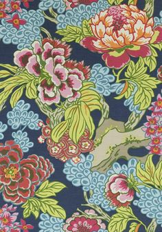Thibaut Honshu Pillow Cover - Chinoiserie Pillow Cover - Peony Pillow - Navy Pink Pillow - Designer Pillow - High End Pillow - Colorful Blue And Green Curtains, Green Fabric, Blue Curtains, Navy Fabric, Wallpaper Uk, Chinoiserie Wallpaper, Chinoiserie Chic, Chinoiserie Fabric, Pink Pillows