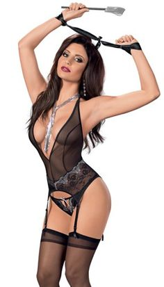Bring out your inner Goddes in this sheer festive embroidered Bustier set with restraints, paddle and Hose.