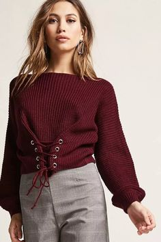 Product Name:Lace-Up Puff Sleeve Sweater, Category:sweater, Price:38