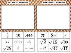 rational vs irrational numbers sorting activity - Rational And Irrational Numbers Worksheet