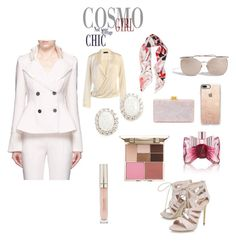 """Cosmo Chic"" by paige-brrian ❤ liked on Polyvore featuring Roberto Cavalli, Comme Moi, Linda Farrow, Edie Parker, Casetify, Viktor & Rolf, Carvela, Kenneth Jay Lane and Stila"