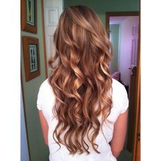 hair color- golden reddish brown Golden Brown Hair Colors ❤ liked on Polyvore featuring beauty products, haircare, hair color, hair and hairstyles