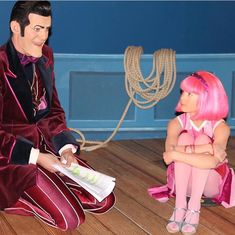 Young Chloe Lang as Stephanie listens intently to co star Robbie Rotten played by Stefán Karl Stefánsson during script rehearsals for LazyTown Lazy Town Stephanie Costume, Lazy Town Robbie, Magnus Scheving, Lazy Town Memes, Stefan Karl, Robbie Rotten, Barn Kitchen, Actors & Actresses, Entertainment