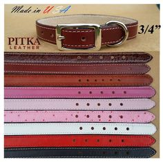 Leather Dog Collars Studded Dog Collars Made in USA Medium Dogs Collars | eBay
