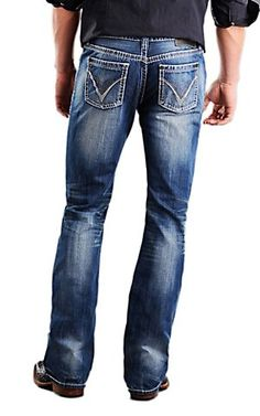 Rock & Roll Cowboy® Medium Stonewash Running V Embroidery Pistol Slim Fit Boot Cut Jeans Cowboy Outfit For Men, Cowboy Outfits, Western Outfits, Western Shirts, Western Wear, Chicos Fashion, Mens Fashion, Country Wear, Men Closet