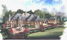 European Style House Plans - 7618 Square Foot Home , 2 Story, 6 Bedroom and 8 Bath, 5 Garage Stalls by Monster House Plans - Plan 24-126