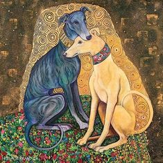 klimt zeichnungen Dog art, two whippets Gustav Klimt, Klimt Art, Art And Illustration, Greyhound Kunst, Grey Hound Dog, Dog Paintings, Art Graphique, Tile Art, Dog Art