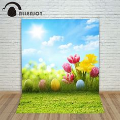 Allenjoy Easter backdrop Happpy Easter eggs Tulips pink flowers grass sky sunny cute Photo background photography