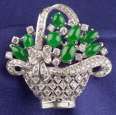 18kt White Gold and Jadeite Basket Brooch | Sale Number 2311, Lot Number 210 | Skinner Auctioneers