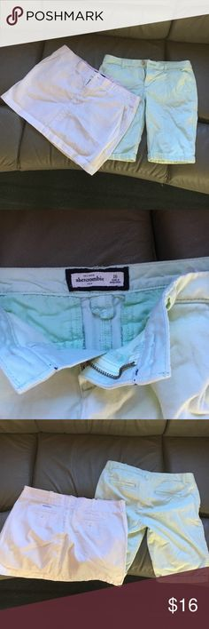 Perfect condition Wide island company skirt size small and mint green shorts from Abercrombie size 16. Fits a xs or small. The white skirt has a tiny stain on the belt loop part and the mint green shorts are in perfect condition. I have have a listing for the skirt separated. Abercrombie & Fitch Shorts