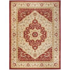 @Overstock - Inspired by intricate Oriental design and dense, thick pile highlight this rug. This rug combines great styling and comfort with a durable powerloomed construction making this ultra low shedding rug easy to maintain.http://www.overstock.com/Home-Garden/Heriz-Cream-Red-Rug/7516681/product.html?CID=214117 8x11 $352