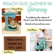 Enter to win a Kitchenaid mixer and an apron and doormat from Candace Cameron Bure's Dayspring Collection. Candance Cameron Bure, Reflective Journal, Prize Giveaway, Aqua Blue Color, Writing About Yourself, Biblical Inspiration, Cafe Tables, Love Your Life