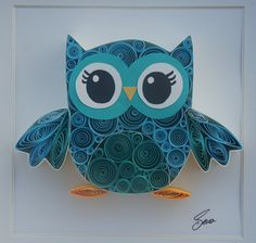 Quilled Paper Art Lovely Owl by SenaRuna on Etsy, $35.00