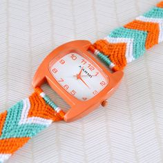 This friendship bracelet watch takes on trend friendship braiding and turns it on its head, by adding a watch face! Check out the full tutorial...
