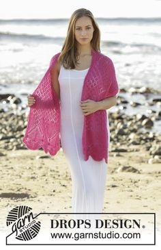 Knitted scarf with lace pattern in DROPS Brushed Alpaca Silk. Free knitting pattern by DROPS Design.