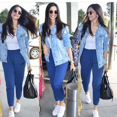 Jan 2020 - Deepika Padukone nailed her latest airport look with a ripped denim jacket , cool track pants , million dollar smile and a lot of SWAG! Cute Preppy Outfits, Sporty Outfits, Simple Outfits, Classy Outfits, Chic Outfits, Trendy Outfits, Fashion Outfits, Women's Fashion, Celebrity Airport Style