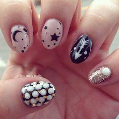 Galaxy nails, moon, stars, arrow, nails, nail art